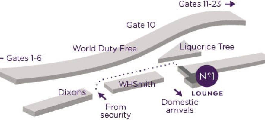 No1 Lounge Edinburgh Airport Map