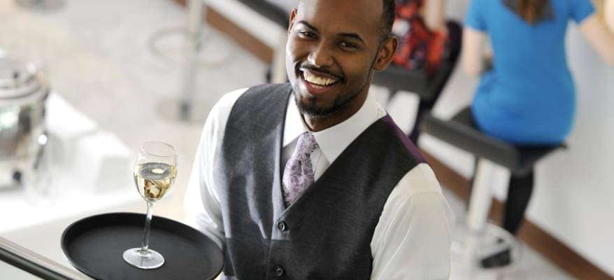 No1 Lounge Birmingham Airport waiter