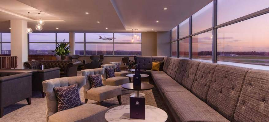 No1 Lounge South Terminal Gatwick Airport sunset