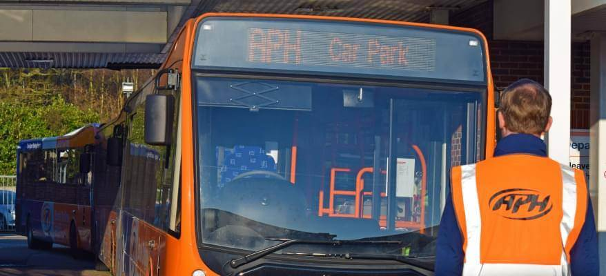 APH Car Park Gatwick Airport APH Car Park Worker And Bus