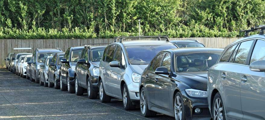 APH Car Park Gatwick Airport Row Of Cars