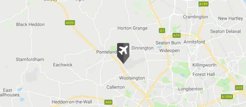 Newcastle Airport map