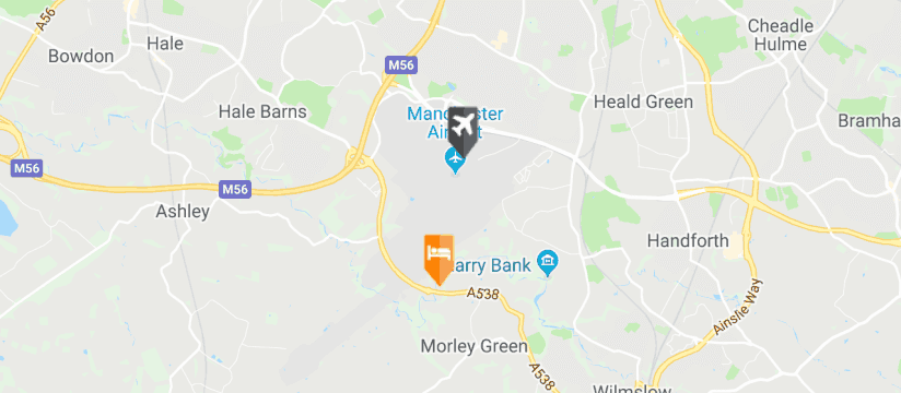 Airport Inn, Manchester Airport map