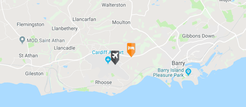Celtic International, Cardiff Airport map