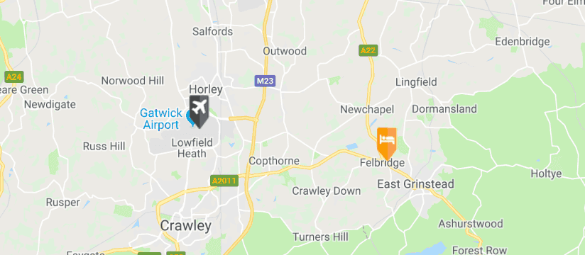 Crowne Plaza Felbridge Gatwick, Gatwick Airport map