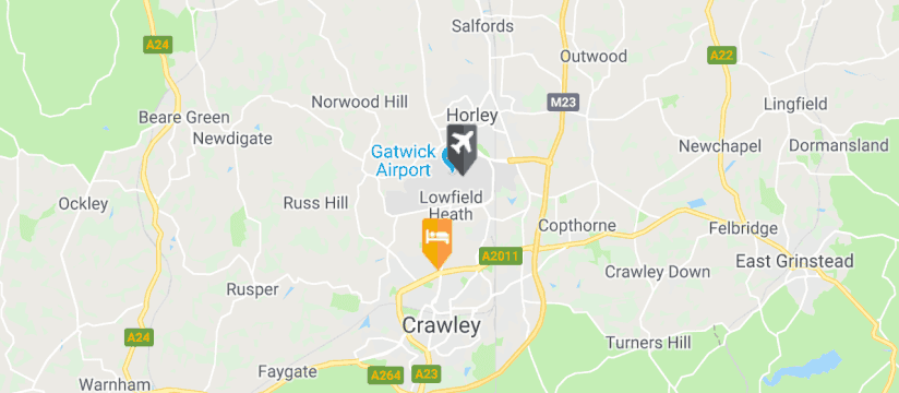 Crowne Plaza Gatwick, Gatwick Airport map