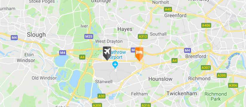 DoubleTree by Hilton Heathrow Airport, Heathrow Airport map