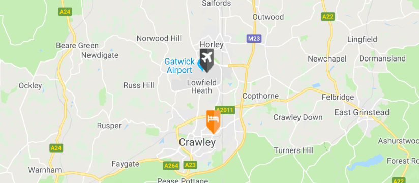 Holiday Inn Express Gatwick Crawley, Gatwick Airport map