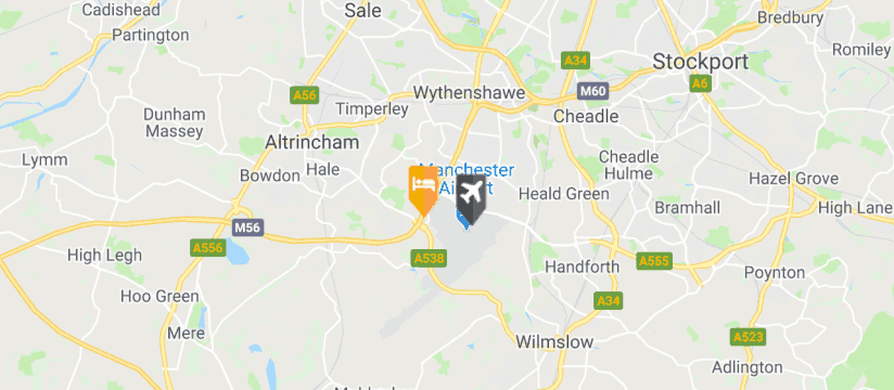 Holiday Inn Express Manchester Airport, Manchester Airport map