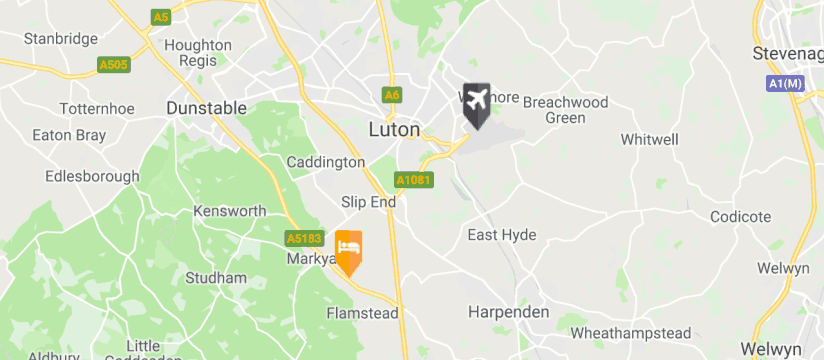 Holiday Inn Luton South M1 J9, Luton Airport map