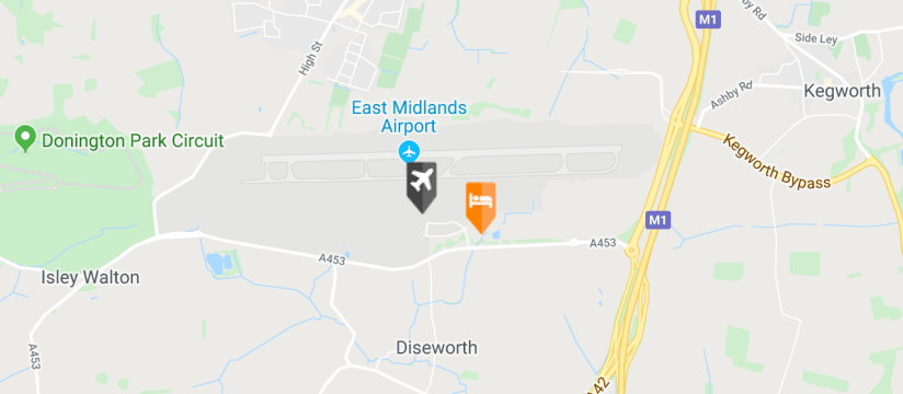 Jurys Inn East Midlands Airport, East Midlands Airport map