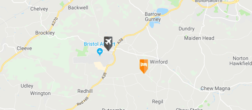 Winford Manor , Bristol Airport map