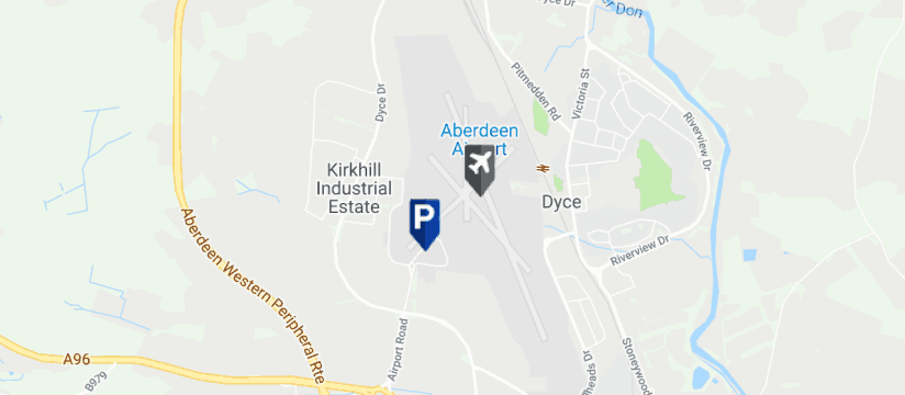 Aberdeen Short Stay Parking, Aberdeen Airport map