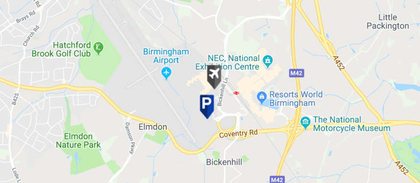 Birmingham Airport Car Park 5 Parking, Birmingham Airport map