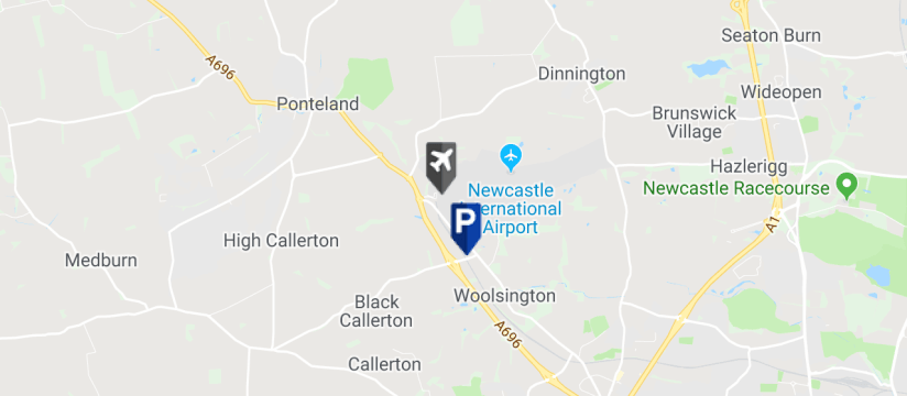 Callerton Parking, Newcastle Airport map