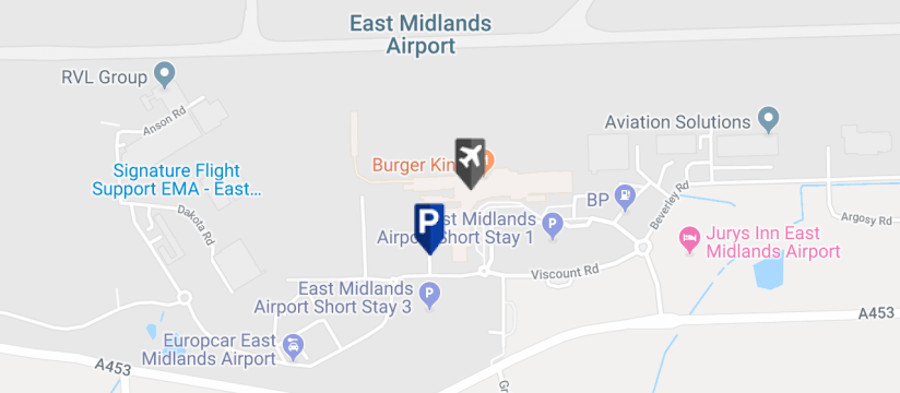 East Midlands Airport Short Stay 2, East Midlands Airport map