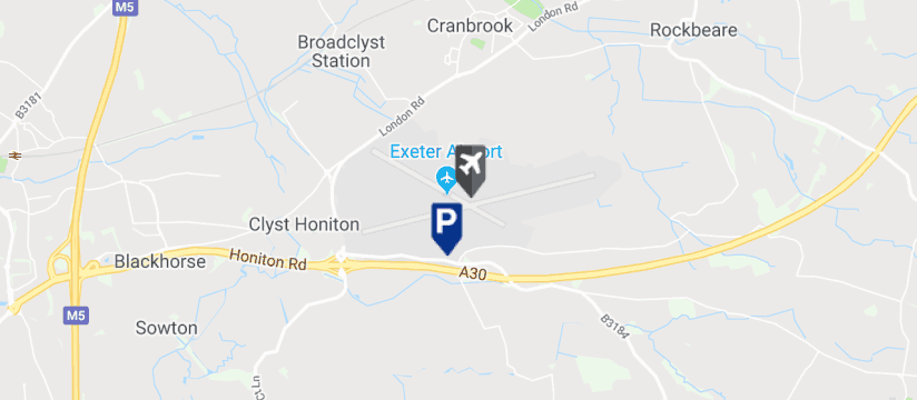 Exeter Airport Short Stay Car Park 2 Parking, Exeter Airport map