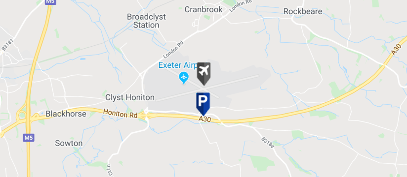 Flyparks Park & Fly, Exeter Airport map