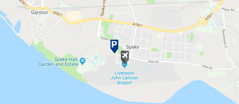 Imagine Park & Ride Parking, Liverpool John Lennon Airport map