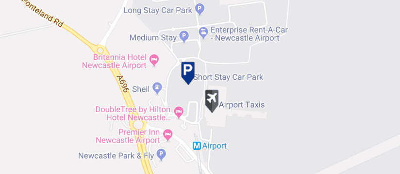 Newcastle Airport Short Stay 1 Parking, Newcastle Airport map