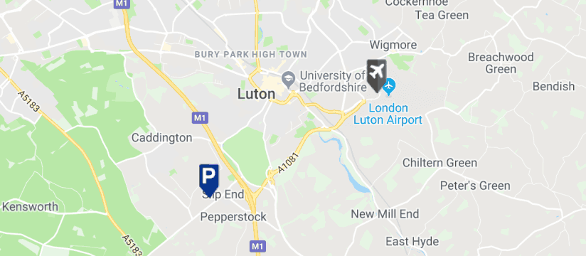 Paige Airport Parking, Luton Airport map