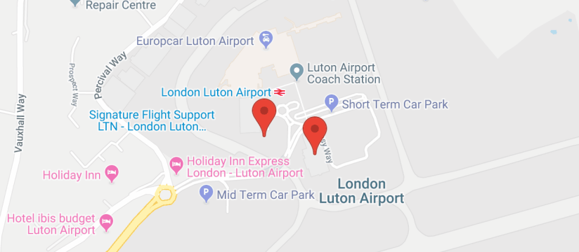 Premier Meet and Greet, Luton Airport map