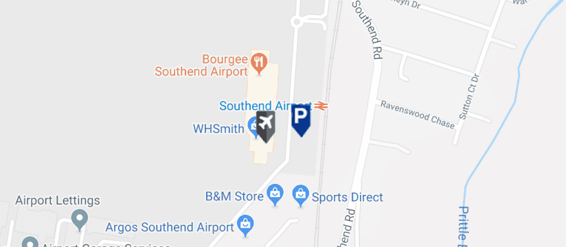 Southend Meet & Greet, Southend Airport map